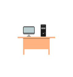 computer is located on a brown wooden desk vector image