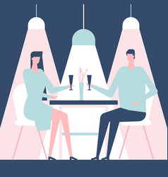 couple on a date - flat design style colorful vector image
