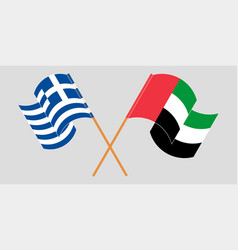Crossed and waving flags greece and united vector