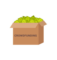 crowdfunding box with money vector image