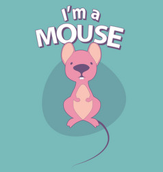 cute cartoon style mouse with title above on vector image