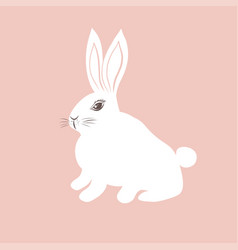 cute white bunny on pink background vector image vector image