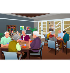 Elderly people playing cards vector