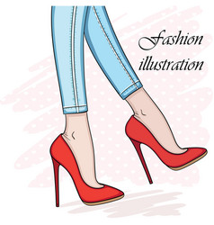 elegant hand drawn legs in shoes sketch vector image