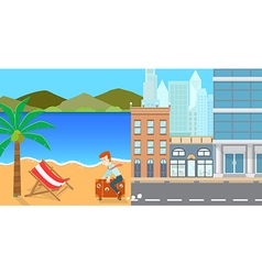 escape to the beach vector image