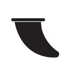 Flat black icon surf board fin vector