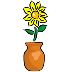 Flower in the vase vector image vector image