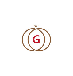 g letter ring diamond logo vector image