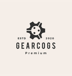 gear cog cogs people hipster vintage logo icon vector image