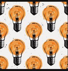 grunge seamless pattern with light bulbs modern vector image