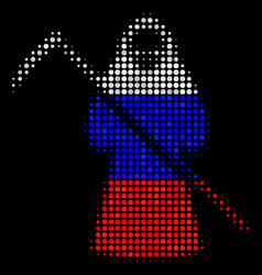 Halftone russian death scytheman icon vector