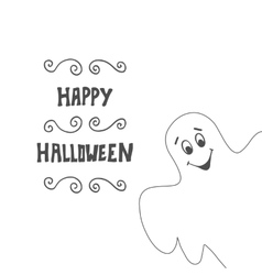Halloween card background with ghost vector