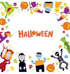 halloween monster characters frame vector image
