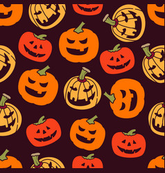 halloween pumpkin seamless pattern background for vector image