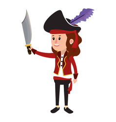 Happy girl with pirate costume and sword vector
