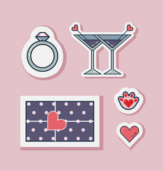 happy wedding or valentines day love stickers vector image