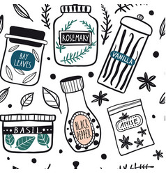 Herbs and spices jars seamless pattern vector
