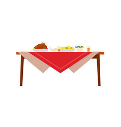 Holiday dishes on table with red tablecloth vector