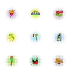 Holiday in venice icons set pop-art style vector