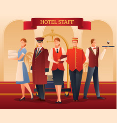 Hotel staff flat composition vector