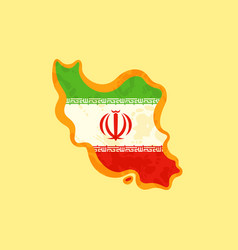 Iran - map colored with iranian flag vector