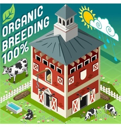 Isometric Cowshed Organic Breeding vector