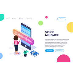 isometric voice message concept person records or vector image