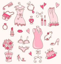 Lady dreams graphic set vector