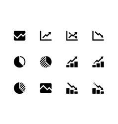 Line chart and Diagram icons on white background vector