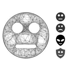 Linear neutral smiley mesh vector