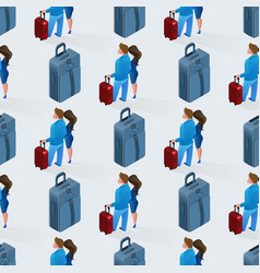 love couple with luggage seamless pattern vector image