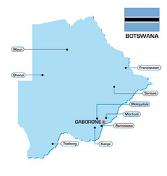 map botswana with flag and main cities vector image