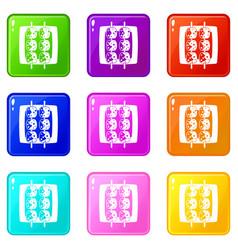 Meat shashlik icons 9 set vector