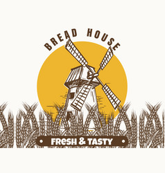 mill and wheat ears banner vector image