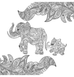 Monochrome hand drawn zentagle of an elephant and vector
