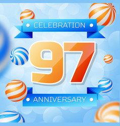 Ninety seven years anniversary celebration design vector