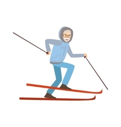 Old Man Skiing Winter Sports vector