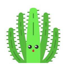 Organ pipe cactus flat design long shadow color vector