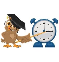 Owl teacher with glasses Owl teacher shows vector
