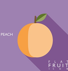 Peach flat icon with long shadow vector