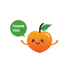 peach fruit character saying thank you vector image