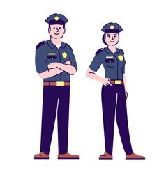policeman and policewoman flat characters police vector image