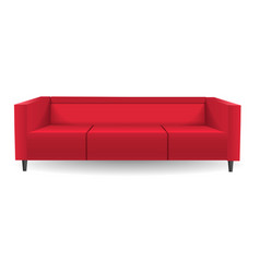 red corner sofa mockup realistic style vector image