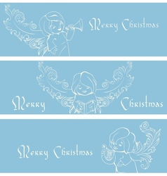 Rich ornate Christmas banner background with vector image
