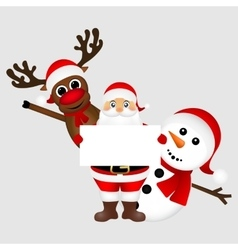 Santa Claus with snowman and reindeer peeking out vector image