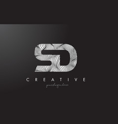 Sd s d letter logo with zebra lines texture vector