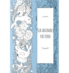 Sea animals pattern vector