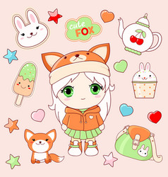 Set of cute stickers in kawaii style vector