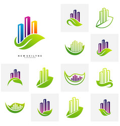 set of green city logo concepts symbol icon of vector image