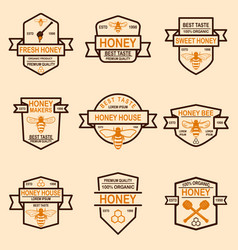 set of honey labels template bee icons design vector image